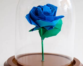 Eternal rose blue origami small decorative globe