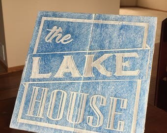 Reclaimed wooden cabin sign