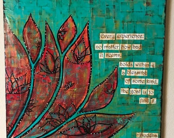 Find The Blessing Mixed Media Collage Painting Original artwork on canvas
