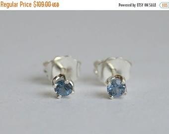 SALE Silver Earring, Spinel Earring, Sterling Silver Stud Earring, 3mm Spinel Stud, Floral Studs, Blue Silver Post Earrings, Spinel Post Ear