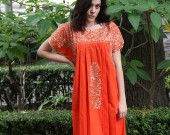 Tangerine orange and antique gold embroidery Mexican Wedding Dress