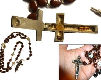 Vintage Catholic Rosary with Reliquary.  Terra Catacombe Roma Hinged Crucifix Holding a Relic of the Catacombs. Very Old.Italy