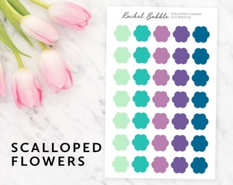 Scalloped Planner Stickers, Flower Planner Stickers, Erin Condren Stickers, Bullet Journal, Travelers Notebook, Stickers, Just Breathe