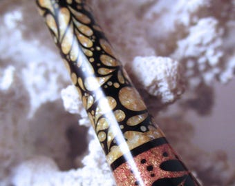 """The """"Princess Eve"""" Art Deco Leaves Hair Stick Featuring African Blackwood Inlaid with Lemon Fresh Water Pearls and Mixed Leaf"""