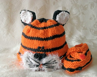 Hand Knitted Tiger Baby Hat and Matching Tiger Booties Knitted Animal Baby Beanie Knitting Knit Baby Hat Newborn Baby Hat Children Clothing