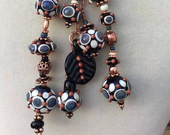Lampwork Beaded Lariat Necklace