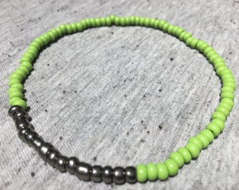 Ankle Bracelet, Stretch Anklet, Green and Silver Anklet, Boho Jewelry, Body Jewelry, Beach Jewelry, Gifts for Her, Womens Jewelry, Anklets