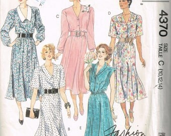 80s Dress Pattern McCalls 4370 Bust 32 to 36 Womens V Neck Long Dress Button Front Dress Vintage Uncut 1980s Sewing Pattern