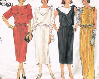 80s Large Collared Dress Pattern Vogue Basic Design 1517 Size 12 Bust 34 80s Style Loose Fitting Pullover Dress Vintage 1985 Sewing Pattern