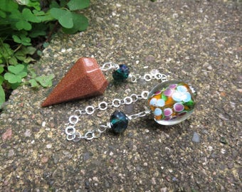 Goldstone Pendulum with Glass Beads and a Sterling Chain