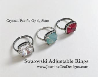 Swarovski Antique Silver Cocktail Rings, Adjustable Rings, 12mm Cushion Cut Fancy Swarovski Crystals