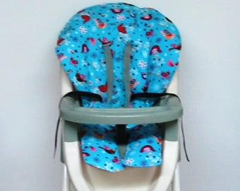high chair cover, Graco padded baby chair accessory, replacement chair cover, custom chair pad, ship ready,kids chair cushion,paradise birds