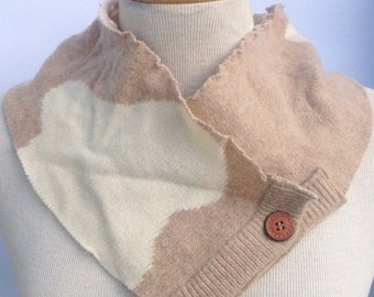 SALE Handmade neutral beige tan creme warm wool scarflette neck warmer with button details. Upcycled. Felted wool. Winter wear.