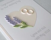 Wedding card - handmade, personalized, quilled, wedding day, congratulations, lavender, paper quilling, happy couple, lilac, wedding rings