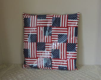 American Flag Heavy Plastic Covered Pillow. July 4th Patriotic Seat Pillow. Independence Day Pillow. Pool and Beach Party Pillow.