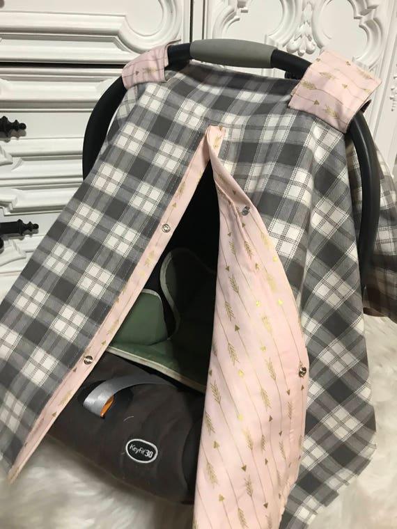 car seat canopy , plaid and arrow , buffalo plaid , Pink and gold arrow