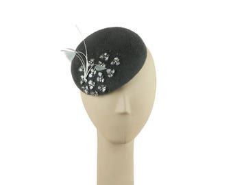 Gray Wedding Hat, Felt Hat, Fascinator Hat, Womens Hat, Ladies Hat, Grey Fascinator, Mother of the Bride Hat, Mini Hat, Millinery Dress Hat
