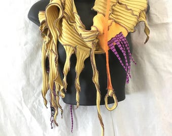 Golden Feather...Sculpted Skinny Scarf OOAK, Recycled Purple