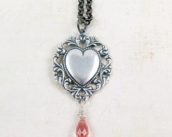 Silver Heart Necklace, Valentine Necklace, Art Deco Style, Pink Crystal, Gift for Wife, Wedding Gift