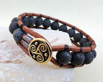 Triskele Bracelet, Lava Leather Wrap, Triskele, Lava, Celtic Button, Handmade, Leather Jewelry, Gift for Man, Gift for Him, Man Jewelry