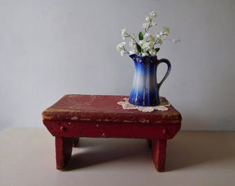 Vintage wood red stool Shabby style red bench