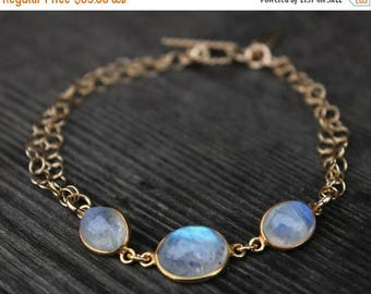 ON SALE Gold Rainbow Moonstone Bracelet - Gemstone Bracelet - June Birthstone, Toggle Bracelet