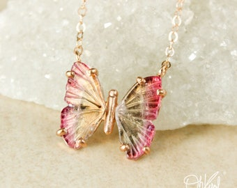 Bright Pink Tourmaline Butterfly Necklace - Champagne Yellow Tourmaline - Choose Your Setting