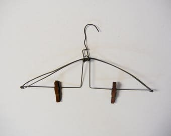 Vintage Industrial Wood and Wire Clothes Hanger Old Store Display