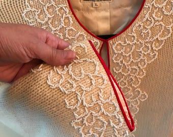 Exquisite 1940's Vintage Lambswool Angora Beaded Sweater