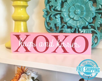 XOXO Block- Valentine's Day Decor, Valentine's Day Wood Block, Valentine's Sign, Hugs and Kisses, Valentine's Decorations