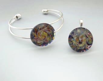 Blown Glass Pendant ~  Cuff Bracelet Set ~ Burst of Color ~ Lampwork Necklace Set ~ Hand Blown Glass ~ Lampwork Focal Bead ~ (BCS6177a)