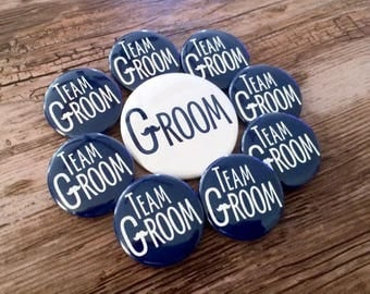 Team Groom Pins, Bachelor Party, Groom Button, Stag Party Badge, Navy Blue, Classy Bachelor, Mustache Pin, Moustache Wedding