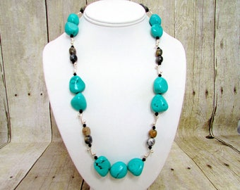 Turquoise, Agate and Silver Necklace  - T62