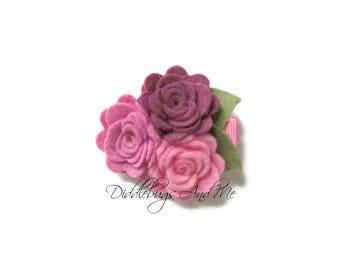 PInk Felt Roses Hair Clip, Felt Roses Hair Clip, Flower Hair Clip, Toddler Clips, Felt Hair Clip, Flower Girl Hair Clip, Wedding Clip