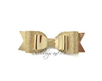 Girl's Gold Hair Bow, Christmas Glitter Bow, Toddler Hair Clip, Gold Leather Bow, Wedding Bow, Holiday Bow, Flower Girl Bow, Christmas Bow