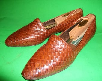 Vintage Cole Haan Italian Leather Hand Woven and Hand Stained Woven Shoe