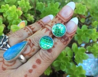 Green Mermaid Earrings, Limited Color Stud Earrings, Scale Earrings, Dragon Scales, Flatback, Ocean, Beach, Rainbow, Costume, Post Earrings,