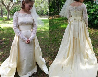 Vintage Ivory Silk and Lace Wedding Gown with Removal Cathedral Train and Veil Amazing 1953