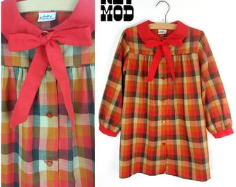 JUNIOR / CHILD SIZE - Fun Retro 60s Mod Orange Plaid Shift Dress with Sassy Neck Tie and Collar by Dotty!