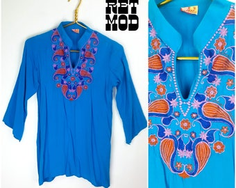 WOW! Vintage 70s Blue Hippie Tunic with Pink & Orange Psychedelic Embroidery