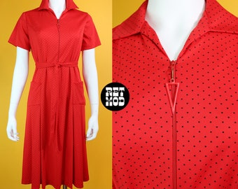 Cute Vintage 70s Red & Black Polkadot Easy Breezy Zipper Dress