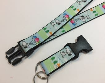 Snoopy Floating up with Balloons Lanyard with Removable Key Chain End