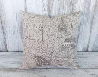 Paris throw pillow - gray city map scene in linen, designer fabric, cushion for home decor, nursery, gift
