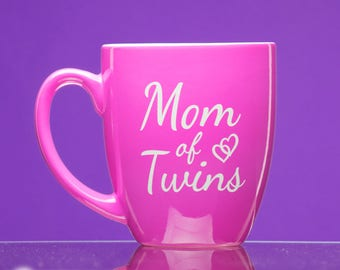Mom of Twins pink coffee mug - new mother gift - mom gift - pregnancy announcement - gift for mom- parents - twins
