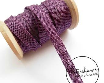 1cm Sinamay Bias Binding Tape Strip (1.6m/1.7yards) for Millinery & Hat Making - Plum