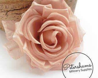 Silk 'Kelly' 14cm Rose Millinery Fascinator Flower Hat Mount - Blush