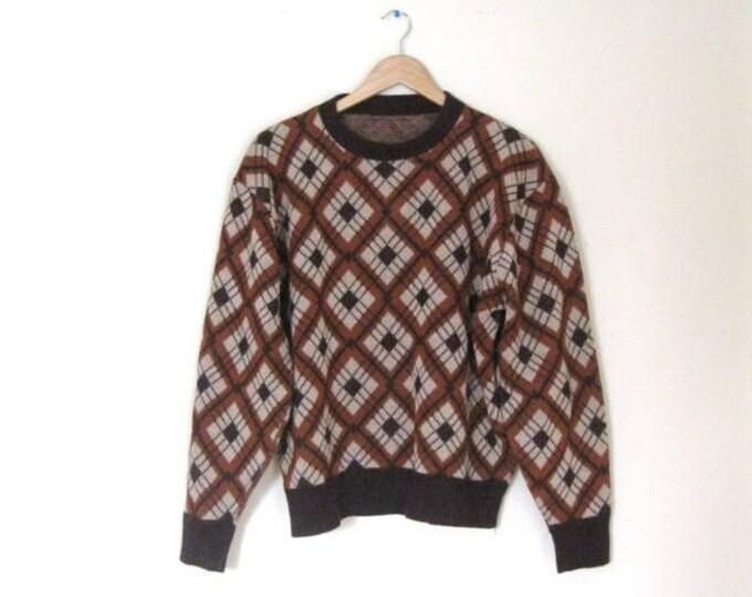 WINTER SALE Vintage 60s Argyle Mens sweater / Hipster argyle pullover Unisex 60s sweater