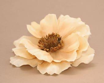 3 Dark Ivory Anemone - Artificial Flowers, Silk Flower Head