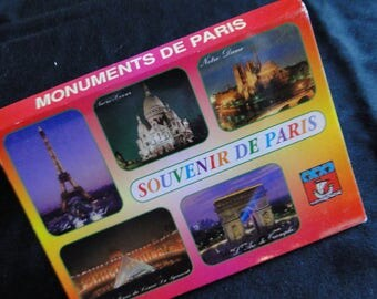Monuments of Paris Vintage Postcards Souvenir De Paris 18 Vintage Postcard in fold out form