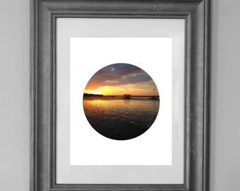 Sunset Dock Printable / Florida Sunset / Jacksonville Photography / Circle Sunset Wall Art / INSTANT DOWNLOAD